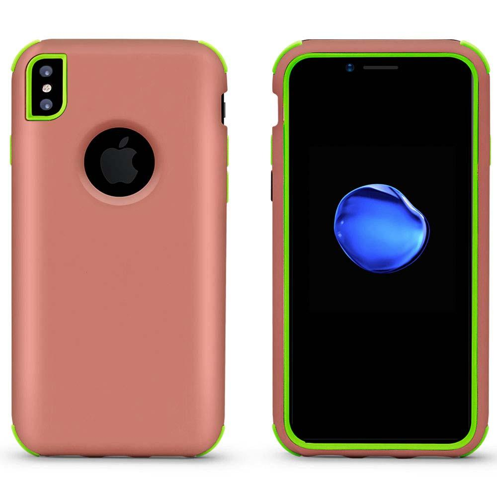 Bumper Hybrid Combo Layer Protective Case  for iPhone X/Xs - Rose Gold & Green