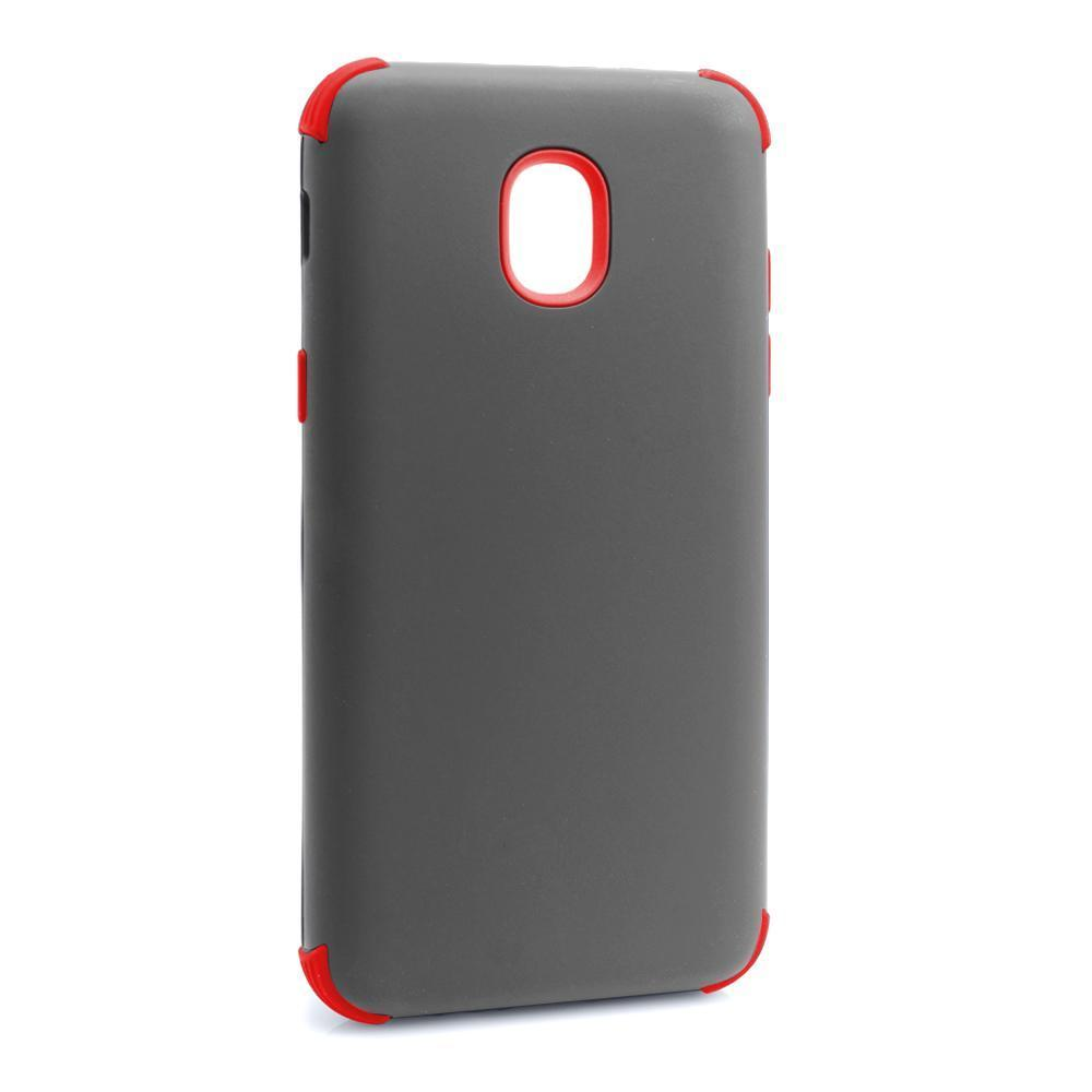 Bumper Hybrid Combo Layer Protective Case  for Samsung J7 2018 - Grey & Red
