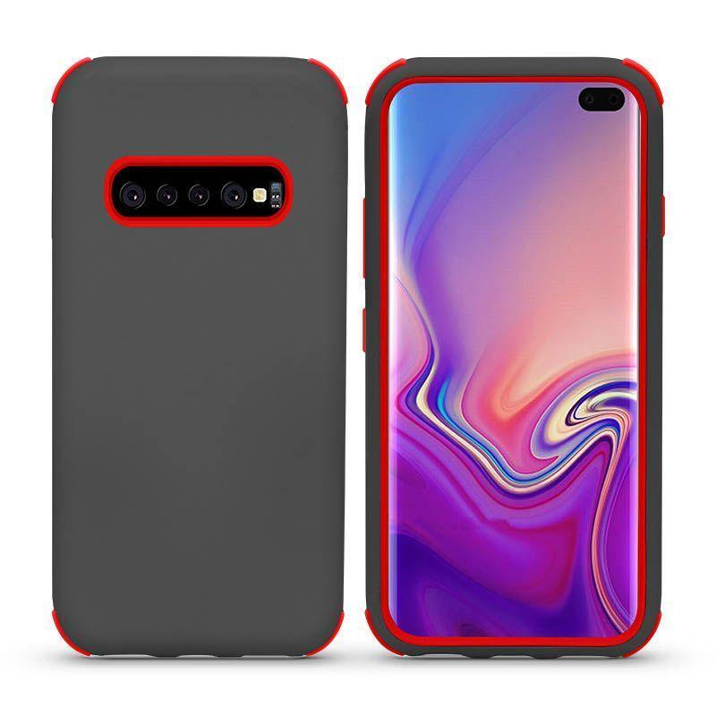 Bumper Hybrid Combo Layer Protective Case  for Galaxy S10 E - Grey & Red