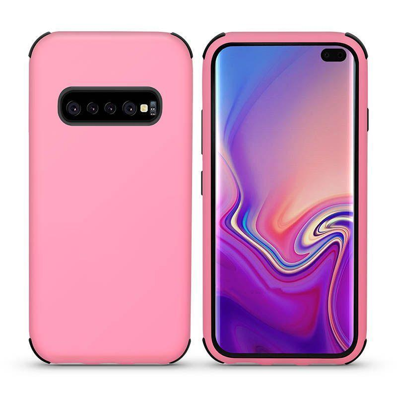 Bumper Hybrid Combo Layer Protective Case  for Galaxy S10 E - Light Pink & Black