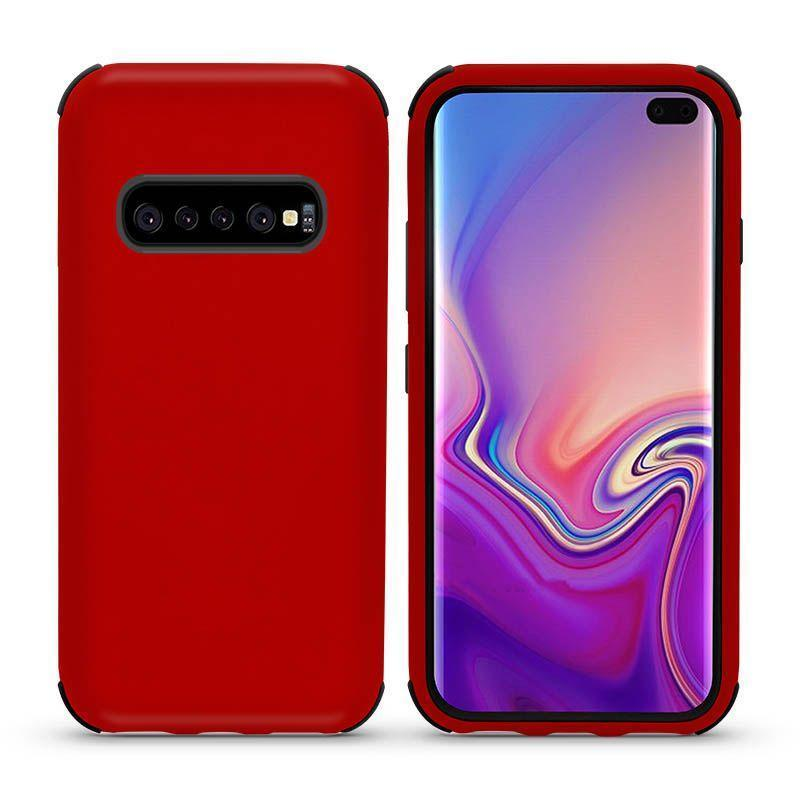 Bumper Hybrid Combo Layer Protective Case  for Galaxy S10 E - Red & Black