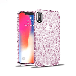 [CS-IXSM-3CC-GPN] 3D Crystal Case  for iPhone Xs Max - Glitter Pink