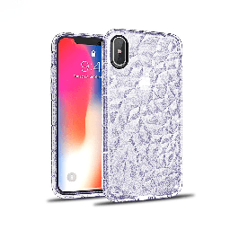 [CS-IXSM-3CC-GPU] 3D Crystal Case  for iPhone Xs Max - Glitter Purple