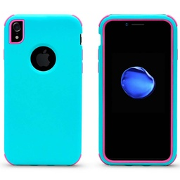 [CS-IXSM-BHCL-TEHPN] Bumper Hybrid Combo Layer Protective Case  for iPhone Xs Max - Teal & Hot Pink