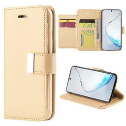 [CS-N10-FLW-GO] Flip Leather Wallet Case  for Galaxy Note 10 - Gold