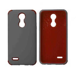 [CS-ART2-BHCL-GYRD] Bumper Hybrid Combo Layer Protective Case  for LG Aristo 2 (K8-2018) - Grey & Red