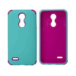 [CS-ART2-BHCL-TEHPN] Bumper Hybrid Combo Layer Protective Case  for LG Aristo 2 (K8-2018) - Teal & Hot Pink