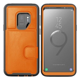 [CS-S9P-DLC-OR] Dual Leather Card Case  for Galaxy S9 Plus - Orange
