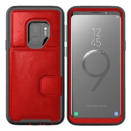 [CS-S9P-DLC-RD] Dual Leather Card Case  for Galaxy S9 Plus - Red