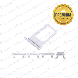 [SP-I6P-ST-PM-WH] Sim Card Tray and Hard Buttons Set for iPhone 6 Plus (Premium Quality) - White